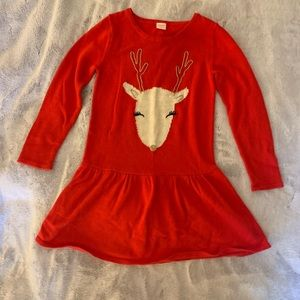 Gymboree Red Sweater Reindeer Dress Girls 10